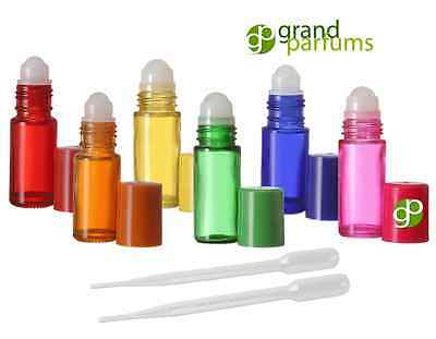 6 Glass Rollerball Bottle 30mL XTRA LG. Roll On 1 Oz RAINBOW COLORS