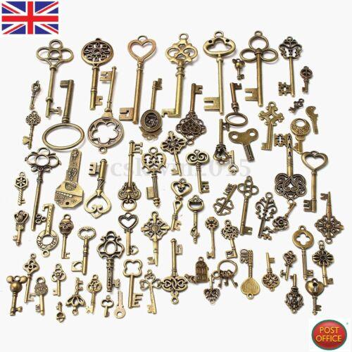 70pcs//set Antique Vintage Old Look Bronze Skeleton Keys Fancy Heart Bow Pendant