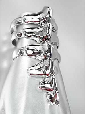 UNIQUE Chunky 18kt White Gold Plated Dinosaur Bones Ribbed Long Cuff Bracelet