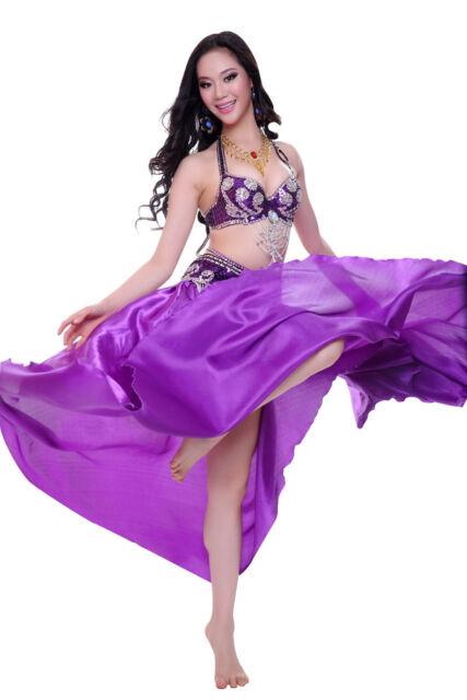 New Belly Dance Costume 2 Pics Bra&Belt 34B/C 36B/C 38B/C 40B/C 13 Colors