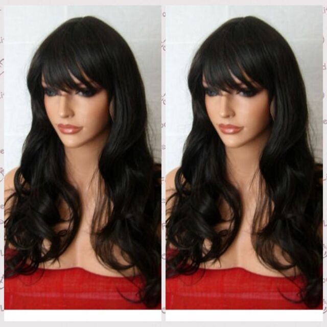 UKJF303  New Vogue long Cosplay black Curly Hair wavy Bangs Wig wigs for women