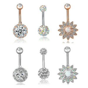 Details About 3x Set Stainless Steel Crystal Opal Belly Button Ring Navel Piercing Jewelry Uq