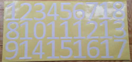 Choose 0-9 White Vinyl Numbers 3 inch Self Adhesive glossy waterproof stickers