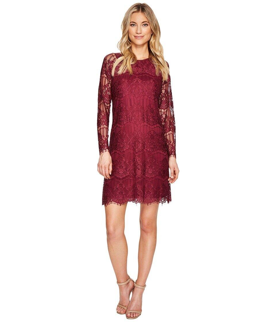 ADRIANNA PAPELL Woherren lila LACE SHEER LONG SLEEVE SHEATH DRESS Größe 8