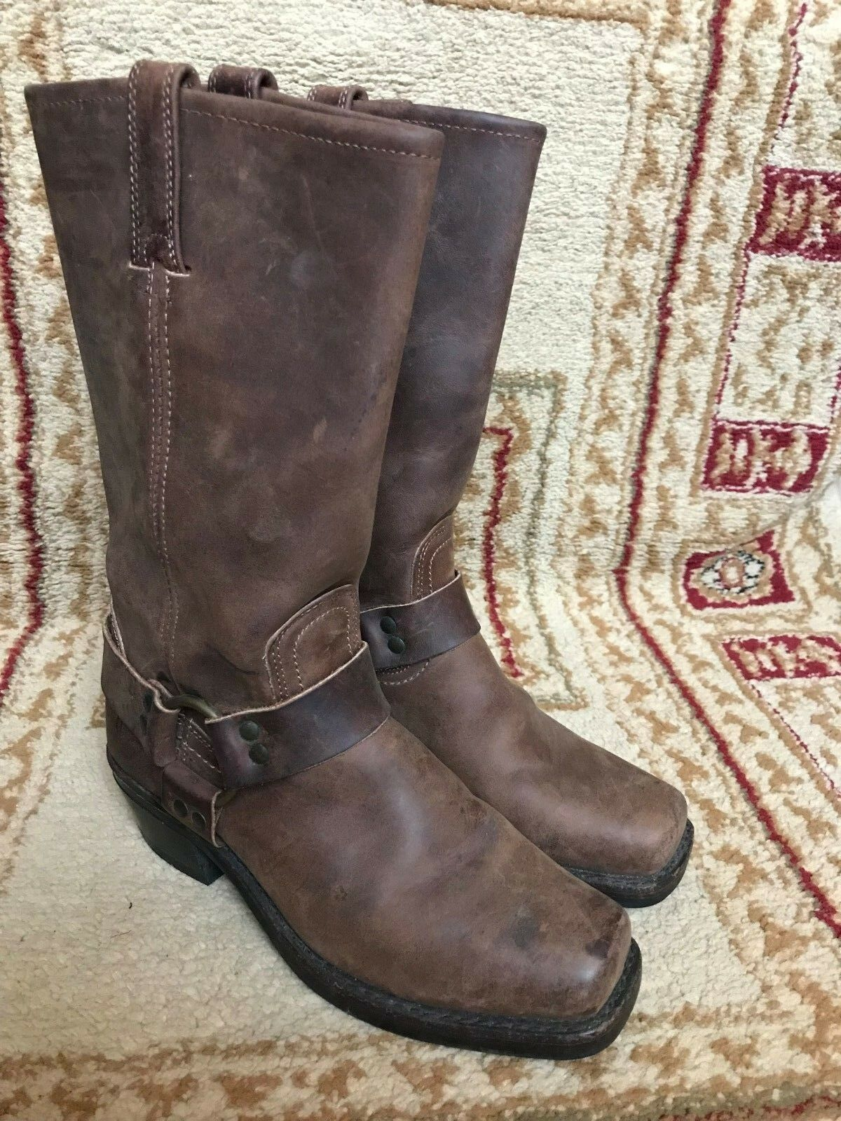 Frye 77300 Brown leather Harness Engineer Rivets Motorcycle Women's Boots 7 M