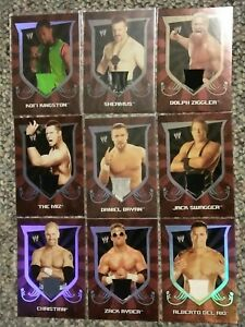 WWE-Lot-of-9-Topps-2011-Classic-Event-Used-Shirt-Relic-Cards-Miz-Bryan-Sheamus