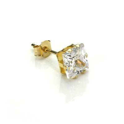 Boucle dOreille pour Homme en Or Blanc 9 Carats et Oxyde de Zirconium 6mm