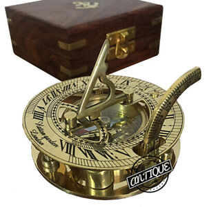 """Antique marine vintage style brass compass 4/"""" nautical sundial with wooden box"""
