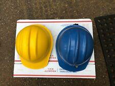 2 Vintage Bullard Hard Boiled Hard Hat 1971 Yellow 1986 302 Blue Safety Helmet