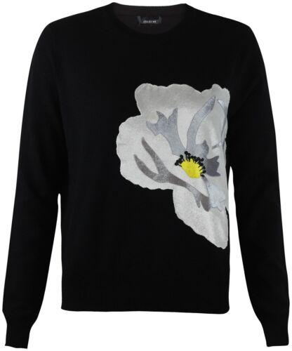 New Topshop Black Gauge Soft Touch Flower Applique Jumper RRP £45 Sizes 6-12