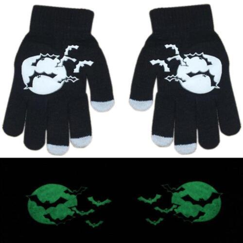 Men Women Luminous Glow Skull Touch Screen Phone Stretch Gloves Knit Warm Winter