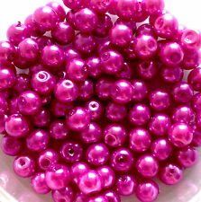 6mm Glass Faux Pearls - Magenta (100 beads) jewellery making