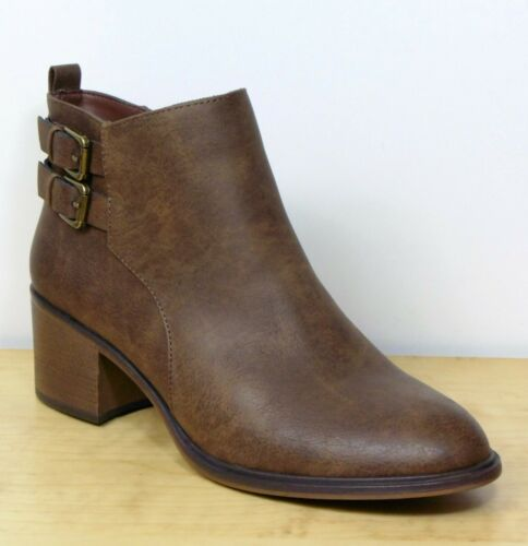 M/&S Faux LEATHER Block Heel ANKLE BOOTS ~ Size 6 ~ BROWN