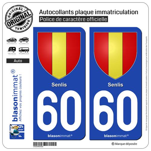 2 Autocollants Plaque D'immatriculation Auto | 60 Senlis - Armoiries | 60300