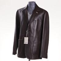 $6900 Brioni Chocolate Brown Nappa Calf Leather Blazer 40 R M (eu 50) Jacket on sale