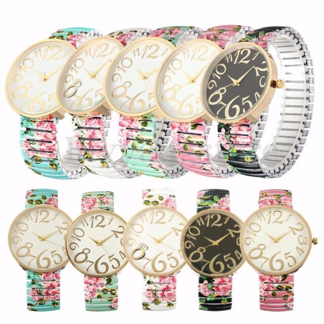 Fashion Retro Women's Rose Flower Dial Elastic Watchband Quartz Wrist Watches