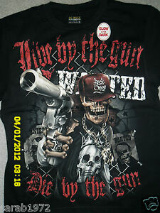 Image Is Loading SKULL GANGSTER WANTED LIVE BY THE GUN DIE