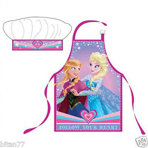 New Frozen Anna And Elsa Apron Kitchen Set Girls Cooking Apron Set