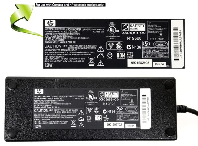New Genuine HP Pavilion Campaq 120 Watt AC Adapter 18.5V 6.5A HP-OW121F13 PA-1121-12H
