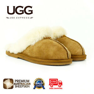 UGG-Unisex-Scuffs-Slippers-Premium-Australian-Fine-Wool-Sheepskin-Suede-Upper