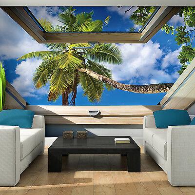 Vlies Fototapete 3D Strand Meer Fenster Steinwand Wohnzimmer XXL Ausblick Insel
