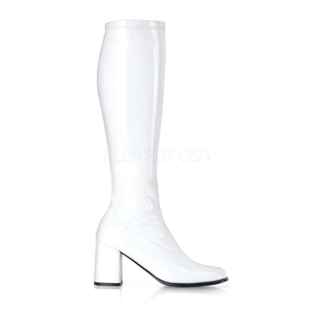 Funtasma 3  Block Heel Shiny blanc Stretch GoGo Knee bottes Hero Cosplay 5-16