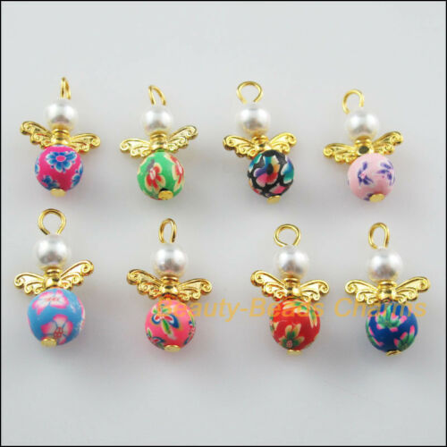 8Pcs Gold Plated Wings Mixed Clay Dancing Angel Charms Pendants 14x22mm