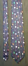 "Alynn Neckwear men's 100% Silk Blue ""18 Hole Course"" Golf Dress Tie made in USA"