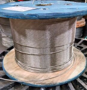 """1/8"""" Stainless Steel Cable Railing Wire Rope 1x19 Type 316 (800 Feet)"""
