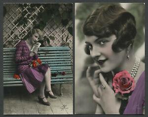 Two-c-1930-Italian-Hand-Colored-RPPC-Photo-Postcards-FOTOCELERE-BEAUTIFUL-WOMEN