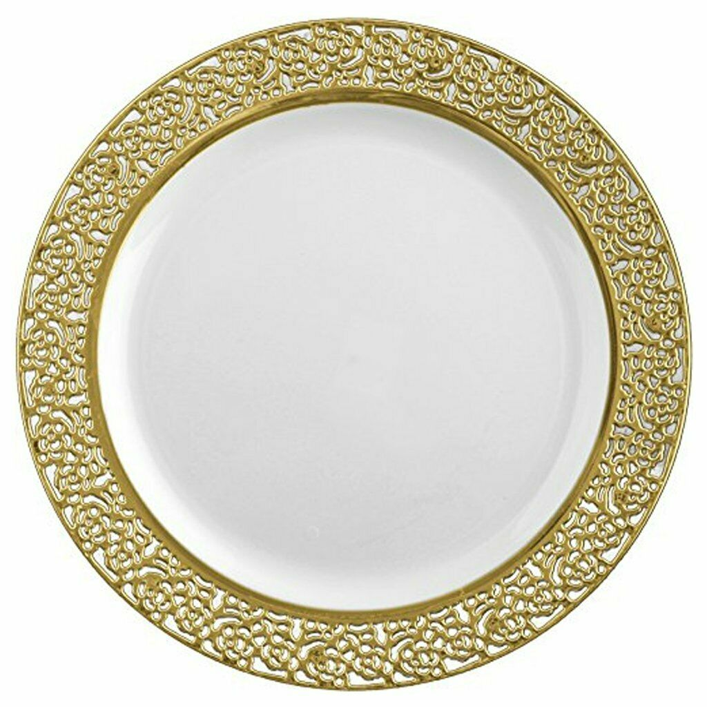 Fancy Inspiration Disposable Plastic Salad Plate 7.25  Lace oro Set of 10pc