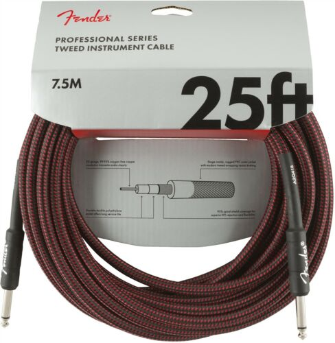 Genuine Fender Professional Series Instrument Cable Red Tweed 25/'