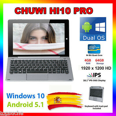 4/64GB 10.1'' CHUWI Hi10 Pro Windows10 +Android 5.1 Tablet PC 1920x1200 +Teclado
