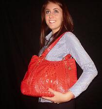 Brahmin Rich Empire RED Leather Satchel TOTE Handbag CROC ALLIGATOR EMBOSS