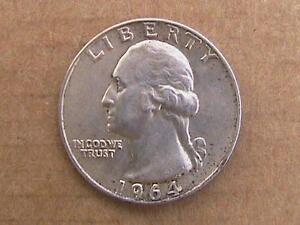 1964 Washington Silver Quarter Us Coin