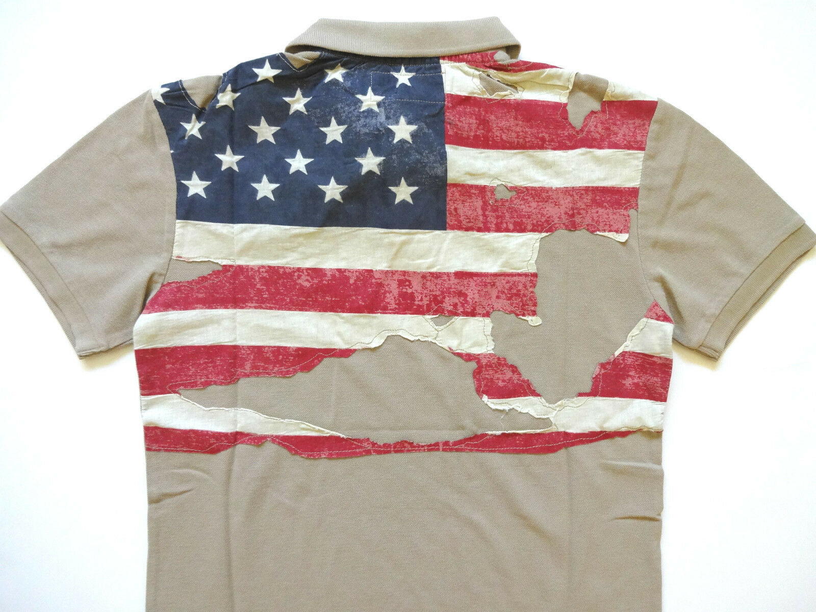 Ralph Lauren Denim and Supply Army Khaki Destroyed Flag Polo Shirt Ultra slim S