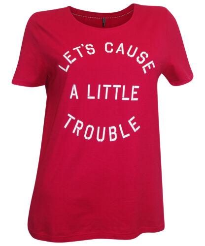 36 rot Print kurzarm Shirt 100/% Baumwolle Trouble ONLY T-Shirt Gr S