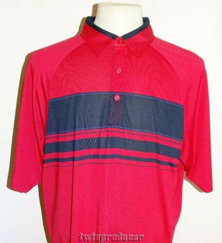 New Men/'s Cutter /& Buck DryTec Orange /& Navy Striped Front SS Polo Shirt L NWT
