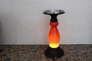 Bath-amp-Body-Works-Orange-Halloween-Lighted-Pedestal-Candle-Holder-NWT-2019