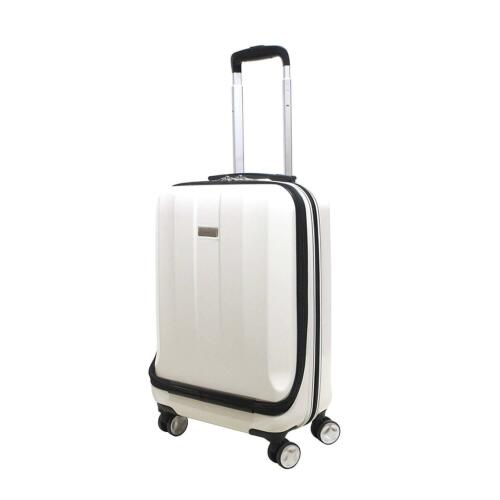 """Suitcase Luggage Carry On Travel Case Cabin Hard Shell Front Pocket 20"""" White"""