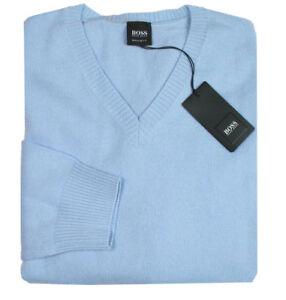 finest selection 7b013 9df7d Details zu HUGO BOSS Herren Pullover | Nemare hellblau XL 100%  Kaschmir-Wolle superweich
