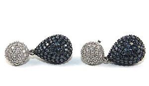 Pear-Blue-amp-White-Diamond-Cluster-Earrings-14K-White-Gold-6-40Ct