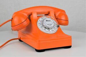 Vintage-Antique-Metal-Western-Electric-302-Telephone-Orange-Fully-Working