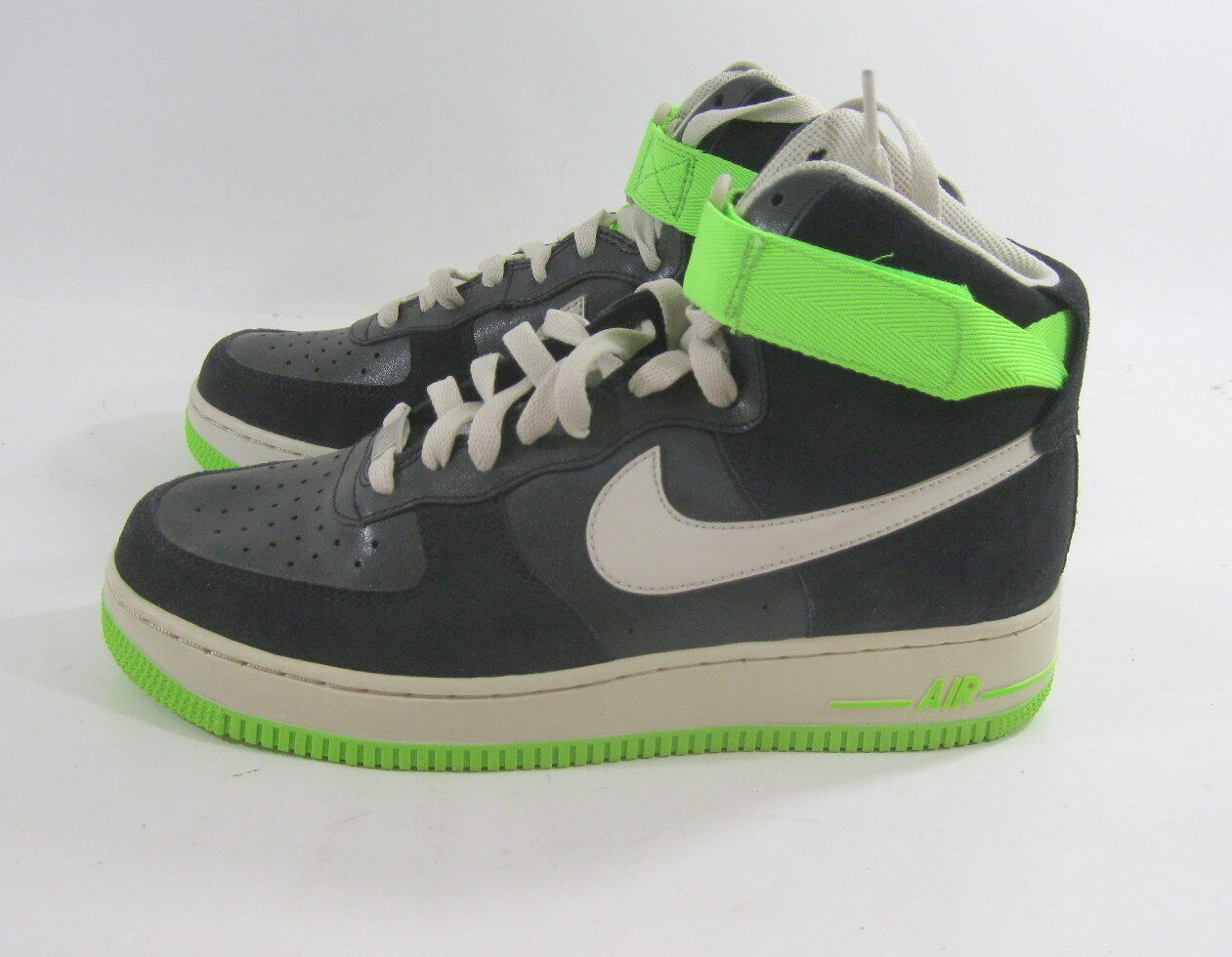 New women Nike Air Force Force Force 1 Black Electric Green Boan 334031-005 Size 8.5 698194