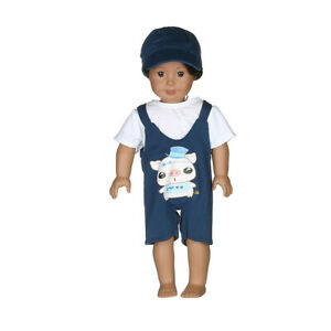 Hot-Handmade-Denim-Overalls-Set-Fits-18-034-Inch-American-Girl-Doll-Clothes
