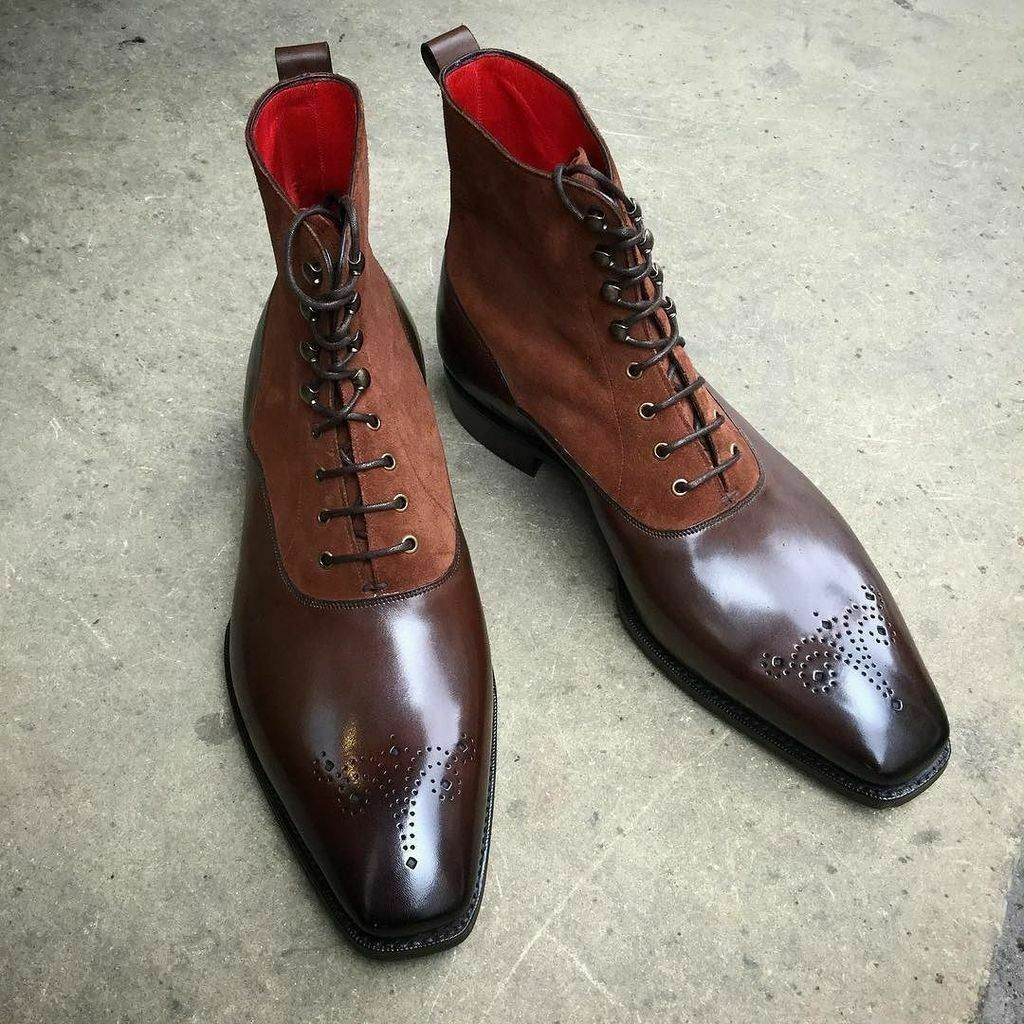 Mens Handmade Boots Brown Leather Suede Ankle Lace Up Brogue Formal Casual shoes