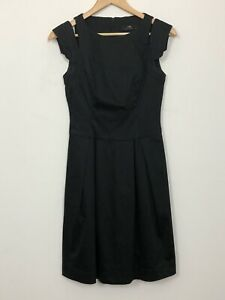 CUE-Womens-Black-Sleeveless-A-Line-Pleated-Pockets-Stretch-Workwear-Dress-Size-8