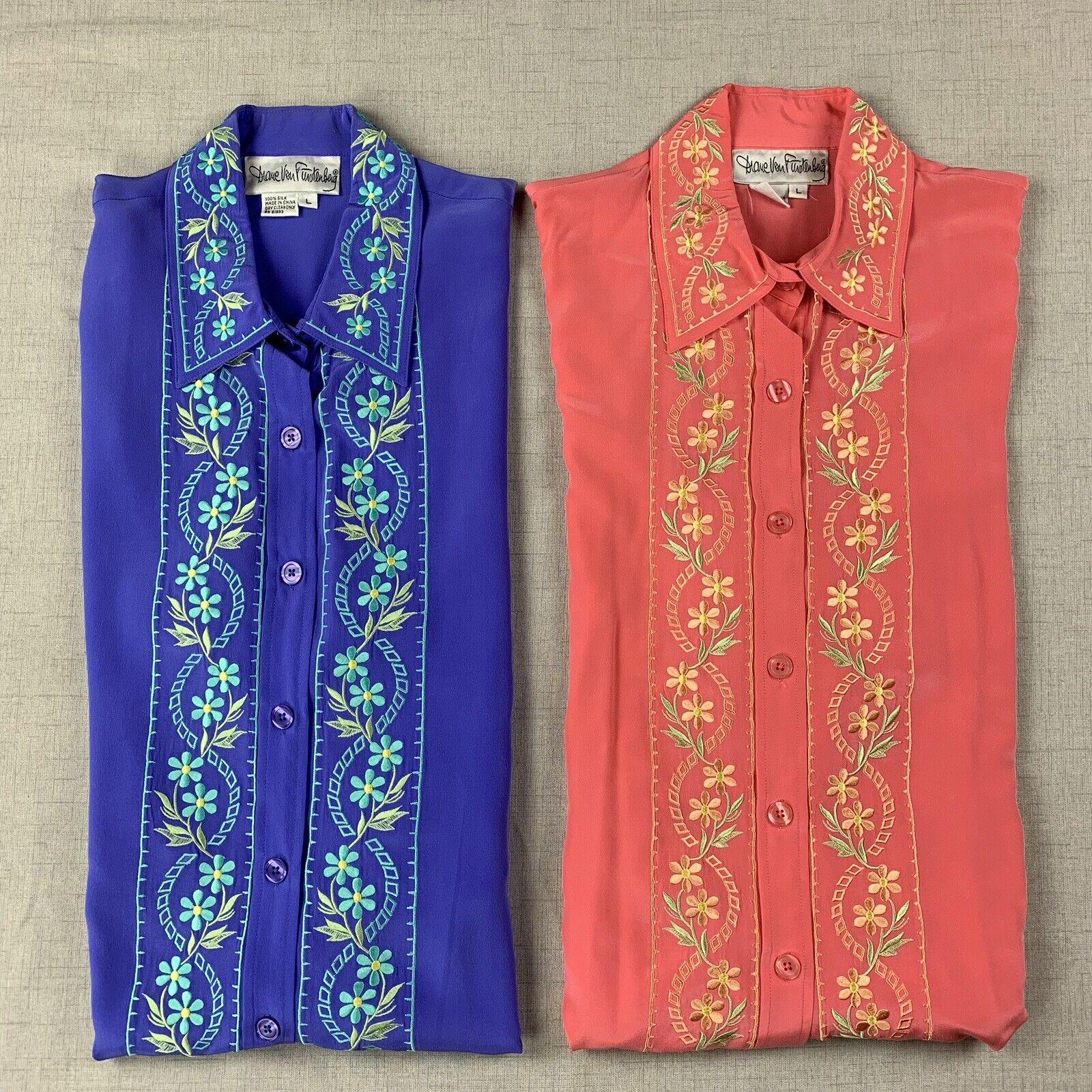 Vintage Diane Von Furstenberg Embroiderot Silk Button Up Blouse Sz Lg - Lot of 2