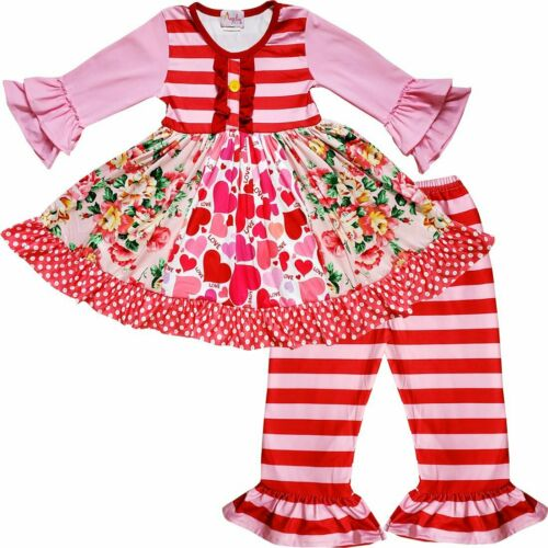 Pink Red Baby Toddler Little Girls Valentine/'s Day Love Heart Floral Dress Set