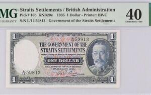 Straits Settlements. 1935 King Edward 1dollar Pmg40. No Remark